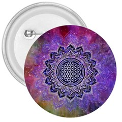 Flower Of Life Indian Ornaments Mandala Universe 3  Buttons by EDDArt