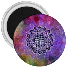 Flower Of Life Indian Ornaments Mandala Universe 3  Magnets by EDDArt