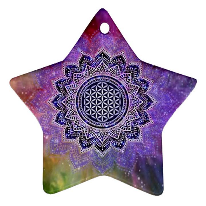 Flower Of Life Indian Ornaments Mandala Universe Ornament (Star)