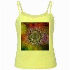 Flower Of Life Indian Ornaments Mandala Universe Yellow Spaghetti Tank