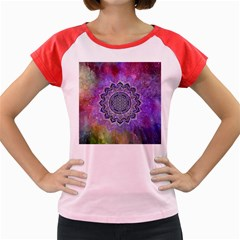 Flower Of Life Indian Ornaments Mandala Universe Women s Cap Sleeve T Shirt by EDDArt