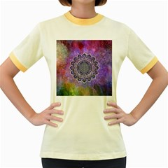 Flower Of Life Indian Ornaments Mandala Universe Women s Fitted Ringer T Shirts