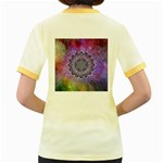 Flower Of Life Indian Ornaments Mandala Universe Women s Fitted Ringer T-Shirts Back