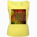 Flower Of Life Indian Ornaments Mandala Universe Women s Yellow Tank Top Front