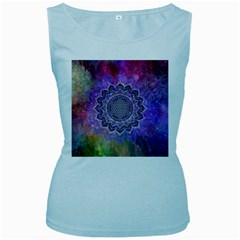 Flower Of Life Indian Ornaments Mandala Universe Women s Baby Blue Tank Top