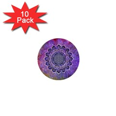 Flower Of Life Indian Ornaments Mandala Universe 1  Mini Buttons (10 Pack)  by EDDArt