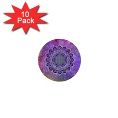 Flower Of Life Indian Ornaments Mandala Universe 1  Mini Magnet (10 Pack)  by EDDArt