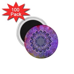 Flower Of Life Indian Ornaments Mandala Universe 1 75  Magnets (100 Pack)