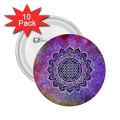 Flower Of Life Indian Ornaments Mandala Universe 2 25  Buttons (10 Pack)  by EDDArt