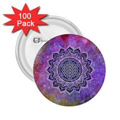 Flower Of Life Indian Ornaments Mandala Universe 2 25  Buttons (100 Pack)  by EDDArt