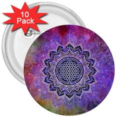 Flower Of Life Indian Ornaments Mandala Universe 3  Buttons (10 Pack)  by EDDArt