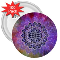 Flower Of Life Indian Ornaments Mandala Universe 3  Buttons (100 Pack)  by EDDArt