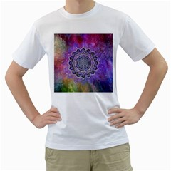 Flower Of Life Indian Ornaments Mandala Universe Men s T Shirt (white) (two Sided)