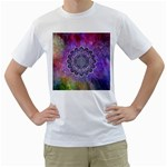 Flower Of Life Indian Ornaments Mandala Universe Men s T-Shirt (White) (Two Sided) Front