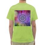 Flower Of Life Indian Ornaments Mandala Universe Green T-Shirt Back