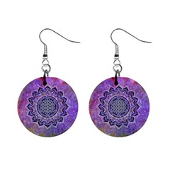 Flower Of Life Indian Ornaments Mandala Universe Mini Button Earrings by EDDArt