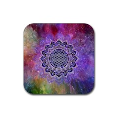 Flower Of Life Indian Ornaments Mandala Universe Rubber Coaster (square)  by EDDArt