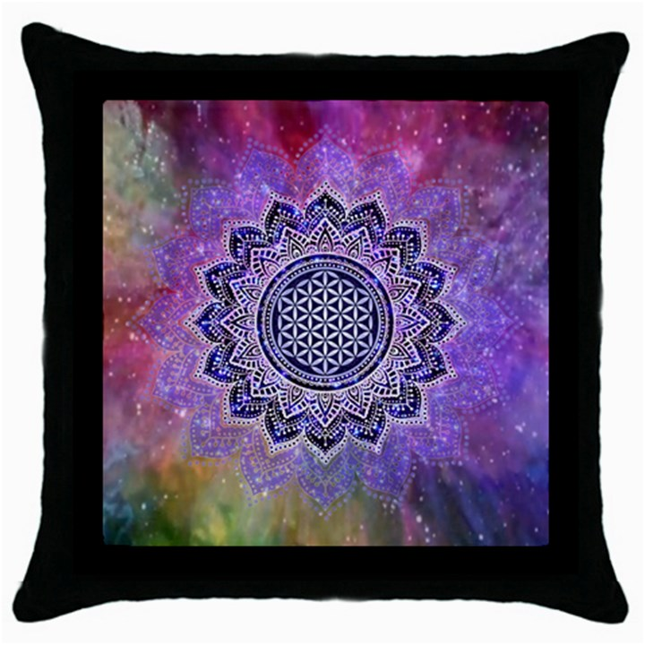 Flower Of Life Indian Ornaments Mandala Universe Throw Pillow Case (Black)