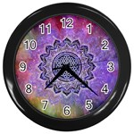 Flower Of Life Indian Ornaments Mandala Universe Wall Clocks (Black) Front