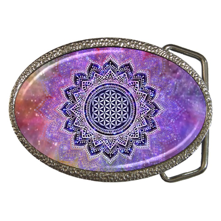 Flower Of Life Indian Ornaments Mandala Universe Belt Buckles