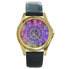 Flower Of Life Indian Ornaments Mandala Universe Round Gold Metal Watch by EDDArt