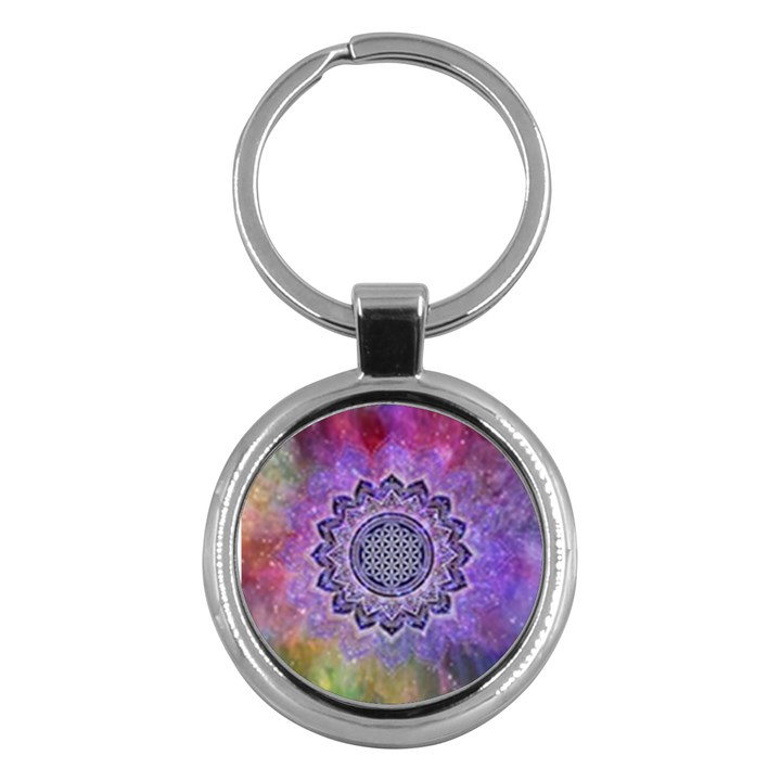 Flower Of Life Indian Ornaments Mandala Universe Key Chains (Round)