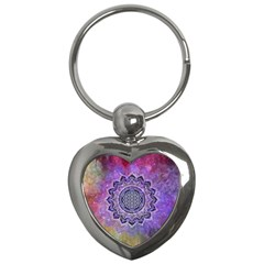 Flower Of Life Indian Ornaments Mandala Universe Key Chains (heart)  by EDDArt