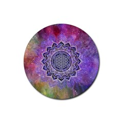 Flower Of Life Indian Ornaments Mandala Universe Rubber Coaster (round)  by EDDArt
