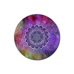 Flower Of Life Indian Ornaments Mandala Universe Rubber Coaster (Round)  Front