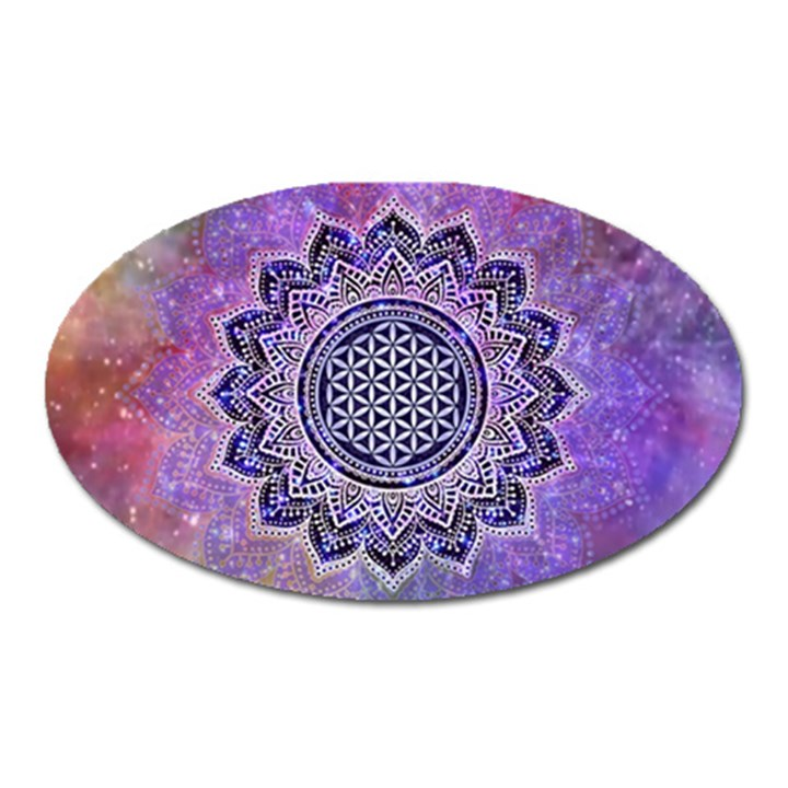 Flower Of Life Indian Ornaments Mandala Universe Oval Magnet