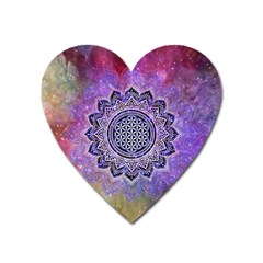 Flower Of Life Indian Ornaments Mandala Universe Heart Magnet by EDDArt