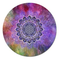 Flower Of Life Indian Ornaments Mandala Universe Magnet 5  (round) by EDDArt