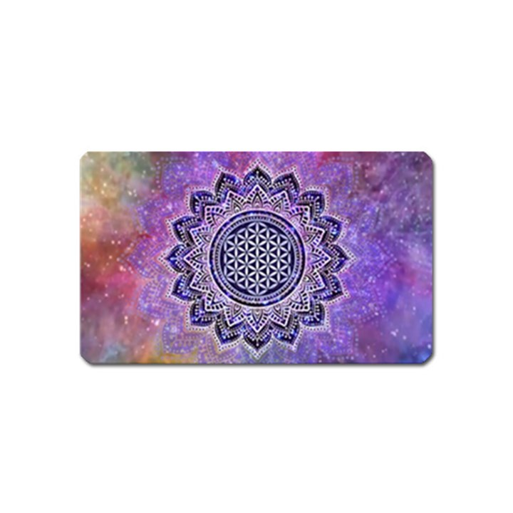 Flower Of Life Indian Ornaments Mandala Universe Magnet (Name Card)