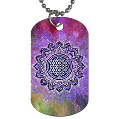 Flower Of Life Indian Ornaments Mandala Universe Dog Tag (one Side) by EDDArt