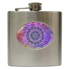 Flower Of Life Indian Ornaments Mandala Universe Hip Flask (6 Oz) by EDDArt