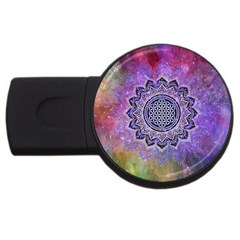 Flower Of Life Indian Ornaments Mandala Universe Usb Flash Drive Round (2 Gb)  by EDDArt