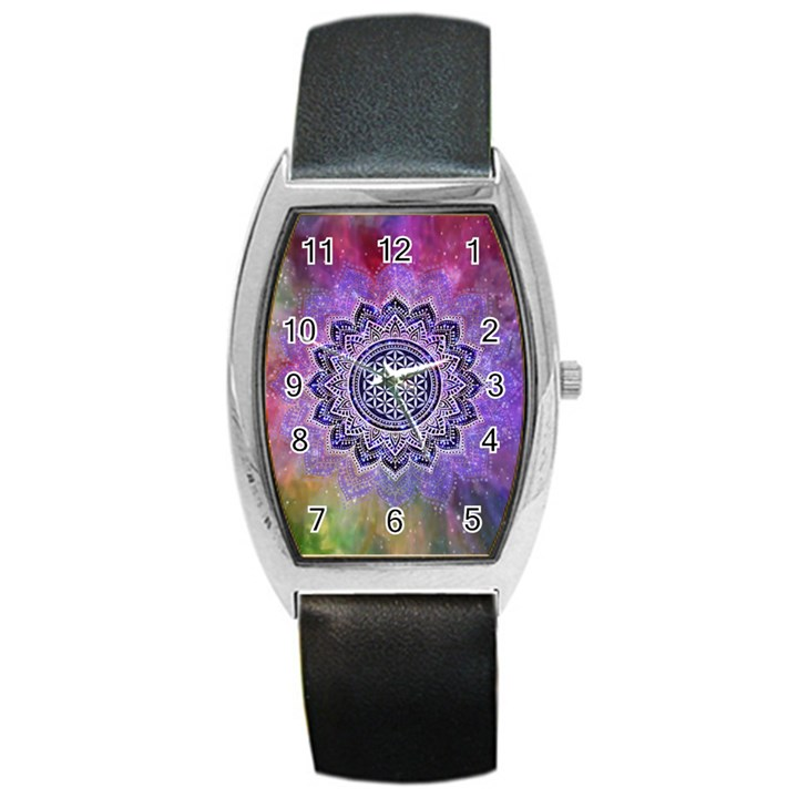 Flower Of Life Indian Ornaments Mandala Universe Barrel Style Metal Watch