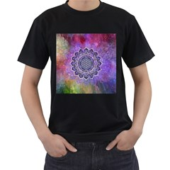 Flower Of Life Indian Ornaments Mandala Universe Men s T Shirt (black) (two Sided)