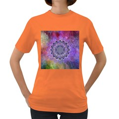 Flower Of Life Indian Ornaments Mandala Universe Women s Dark T Shirt by EDDArt