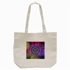 Flower Of Life Indian Ornaments Mandala Universe Tote Bag (cream) by EDDArt