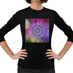 Flower Of Life Indian Ornaments Mandala Universe Women s Long Sleeve Dark T-Shirts Front
