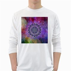 Flower Of Life Indian Ornaments Mandala Universe White Long Sleeve T Shirts by EDDArt