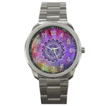 Flower Of Life Indian Ornaments Mandala Universe Sport Metal Watch Front