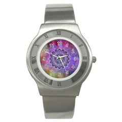 Flower Of Life Indian Ornaments Mandala Universe Stainless Steel Watch by EDDArt