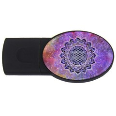 Flower Of Life Indian Ornaments Mandala Universe Usb Flash Drive Oval (4 Gb)  by EDDArt