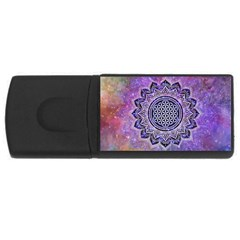 Flower Of Life Indian Ornaments Mandala Universe Usb Flash Drive Rectangular (4 Gb)  by EDDArt