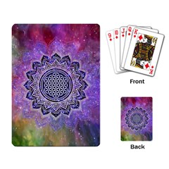 Flower Of Life Indian Ornaments Mandala Universe Playing Card by EDDArt