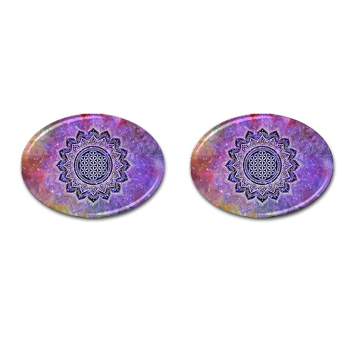 Flower Of Life Indian Ornaments Mandala Universe Cufflinks (Oval)