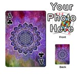 Flower Of Life Indian Ornaments Mandala Universe Playing Cards 54 Designs  Front - ClubA