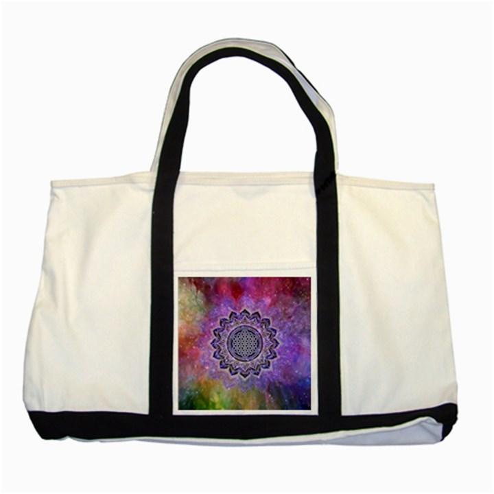 Flower Of Life Indian Ornaments Mandala Universe Two Tone Tote Bag